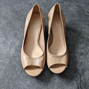 Cole Haan Air Tali beige tan peep toe wedges